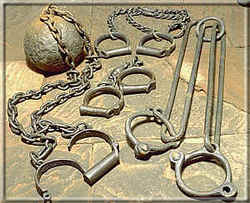 Leg restraints and handcuffs from the Prison era - photo: Manx National Heritage.