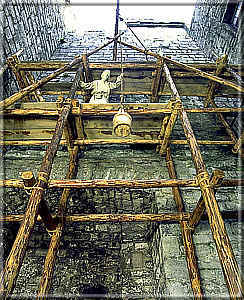 Scaffolding in the Castle Keep - photo: Manx National Heritage