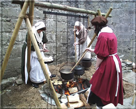 Soldiers' wives preparing food.